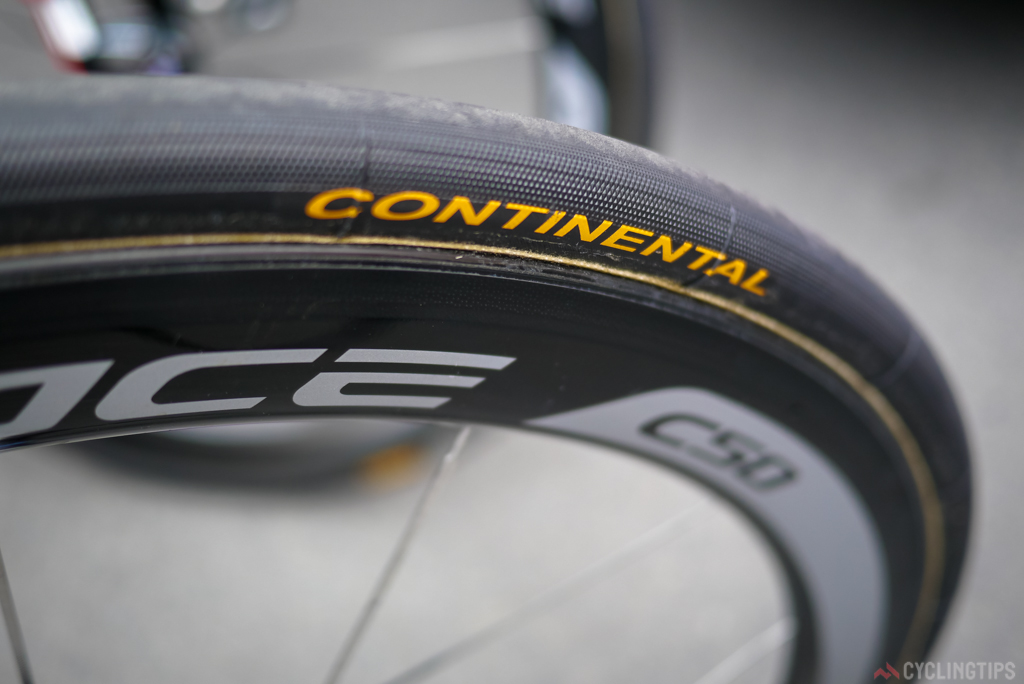 The Continetal ProLTD tubular is a hugly popular tubular amogst pro teams. Team Sky are not sponsored by any tyre manufacture and have also been seen usning the ProLTD this season, including at the Tour.