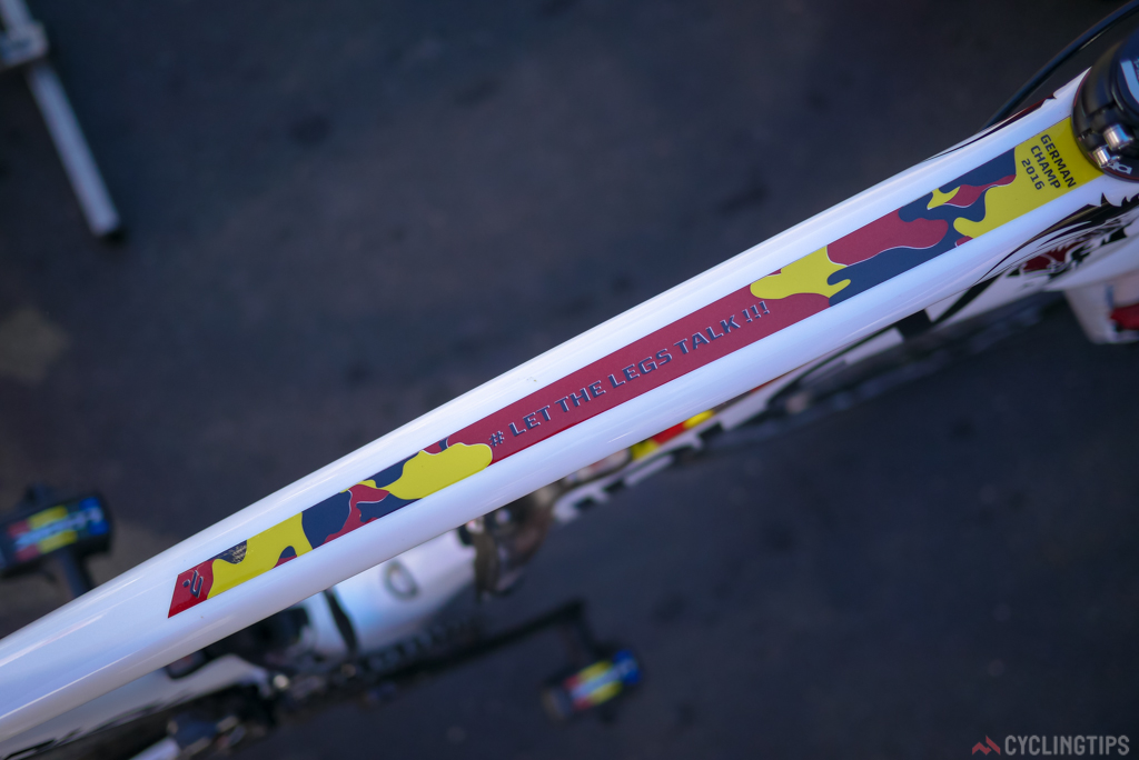 A little bit of top tube camouflage in national colors.