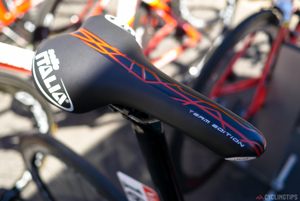 Greipel uses a Selle Italia Turbomatic, but one that doesn't seem to be on the Italian manufactures website. It's an older version.