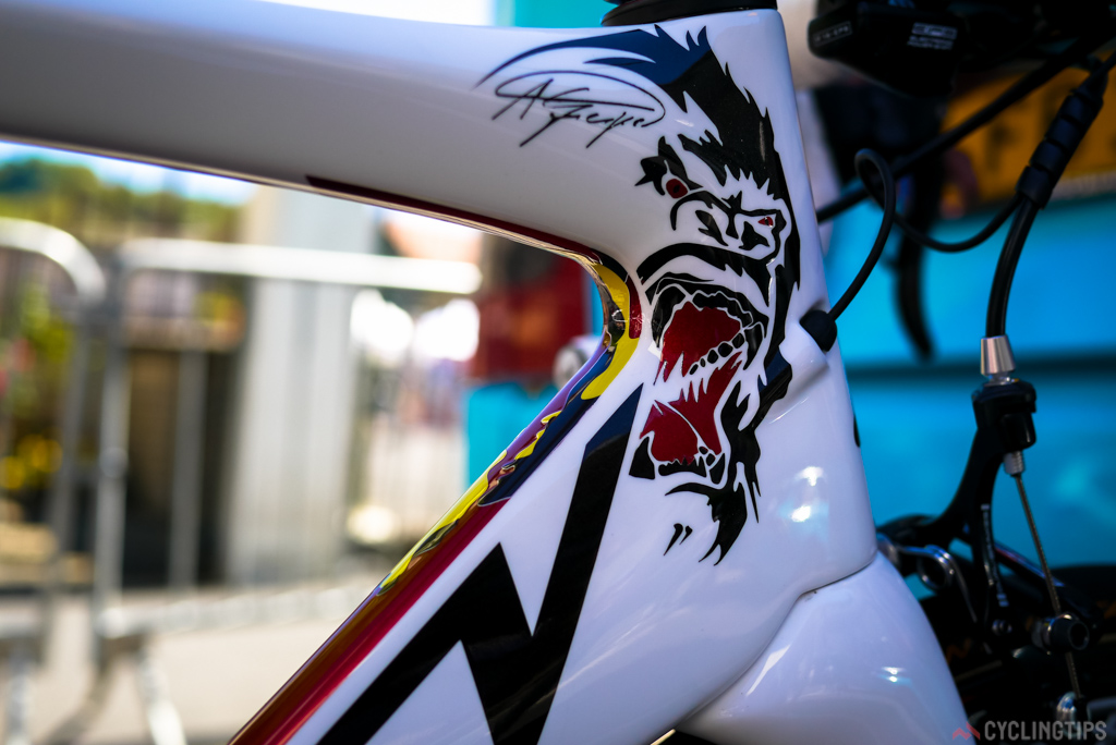 Just so you don't forget what nickname Greipel is know as.  This graphic is actually owned by Greipel himself, so you won't be seeing any Greipel edition bikes in shops until he allows Ridley to use it.