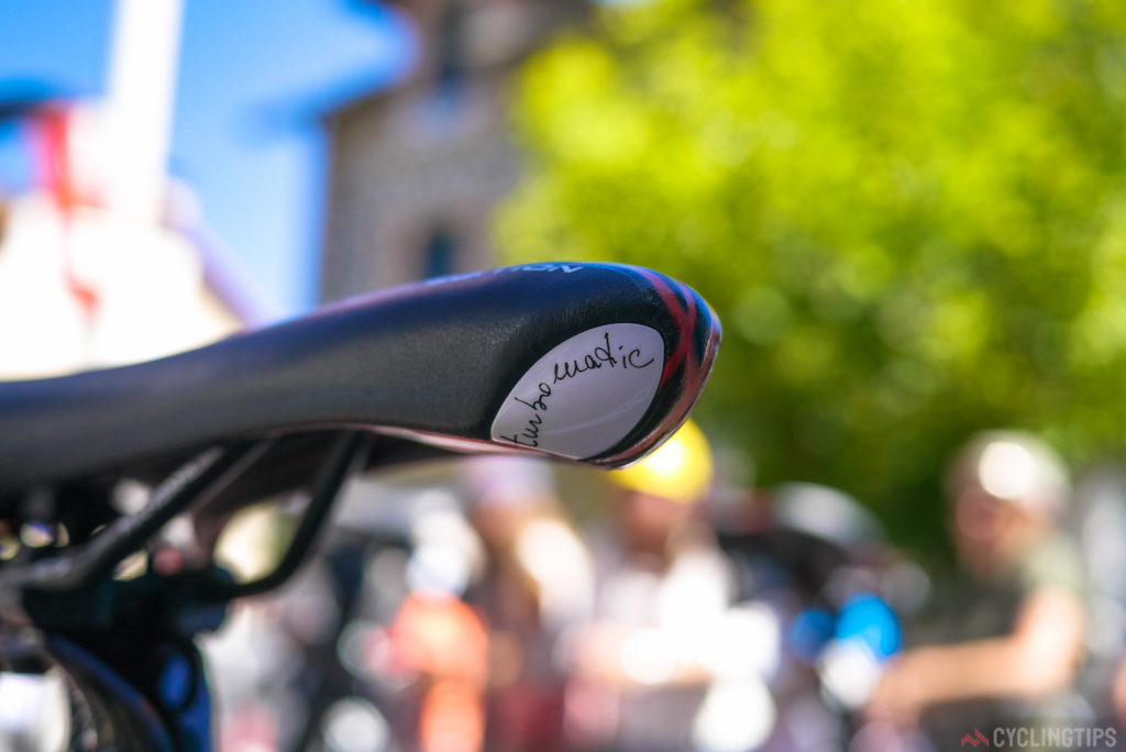 A neat little detailing on the nose of the Selle Italia Turbomatic saddle.