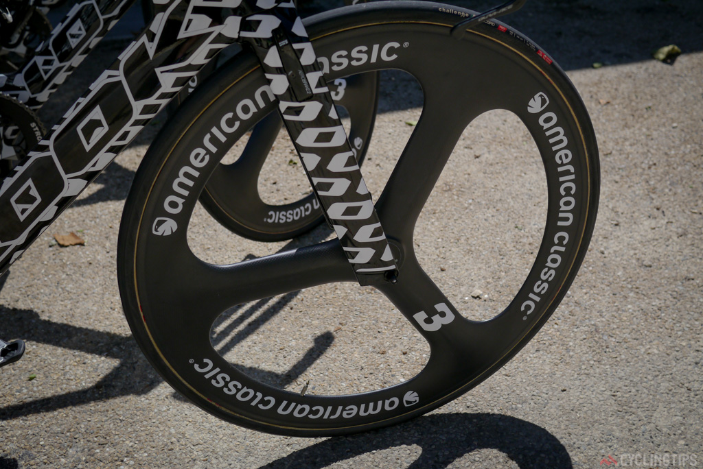 American Classic are wheel sponsor of Fortuneo-Vital Concept, the team were one of only a handful of squads using trispoke front wheels due to the strong winds.