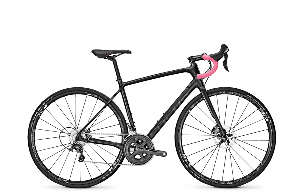 The women-specific Focus Paralane Donna Ultegra uses the same frameset as the standard edition but with altered touch points and colors. Retail price is the same at US$3,500 / AU$4,900 / £3,000 / €3,800. Photo: Focus Bicycles.