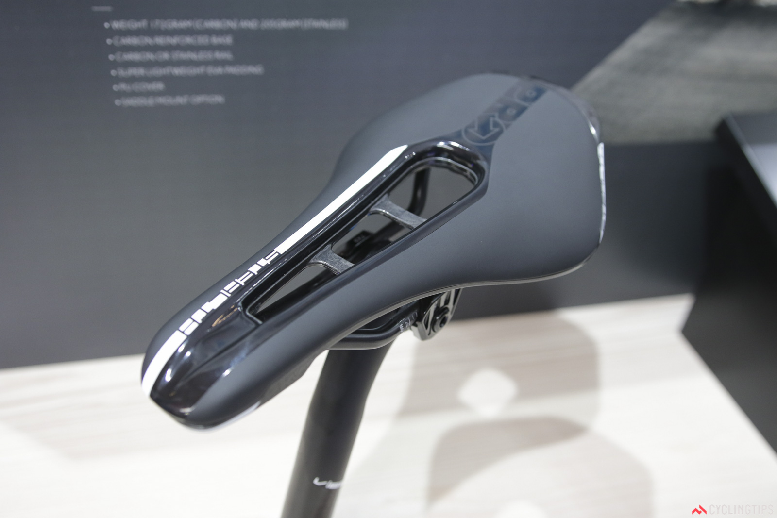 PRO, Shimano's component division, has joined the wide and short road saddle revolution. Named the 'Stealth', this stubby model is claimed to weigh 172g in the carbon version, and 205g in the stainless steel. It'll be available in 142 and 152mm width choice. This, and nearly all other PRO saddles, now included an accessory mount beneath, PRO will soon offer camera, race number and other brackets for direct mounting. Photo: David Rome.