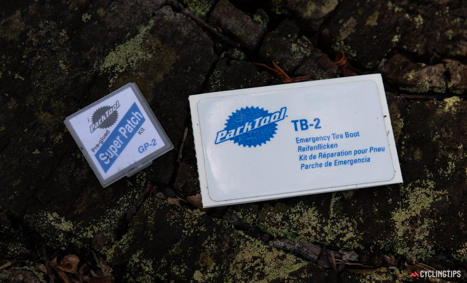 Park Tool glueless patch kit and tyre boot