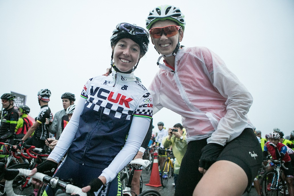Former World and Olympic Champion Nicole Cooke (left) and Australian professional Jo Hogan (right).