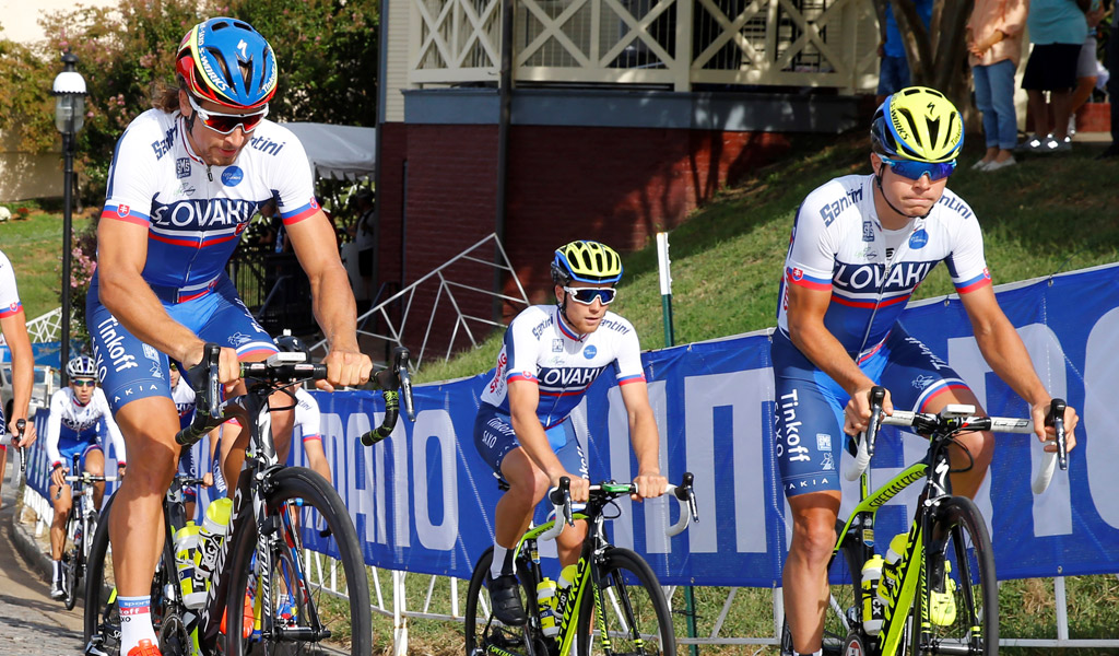 Peter Sagan training with Michael Kolar and the rest of the Slovakian team prior to the 2015 UCI world road race championships in Richmond, Virginia.