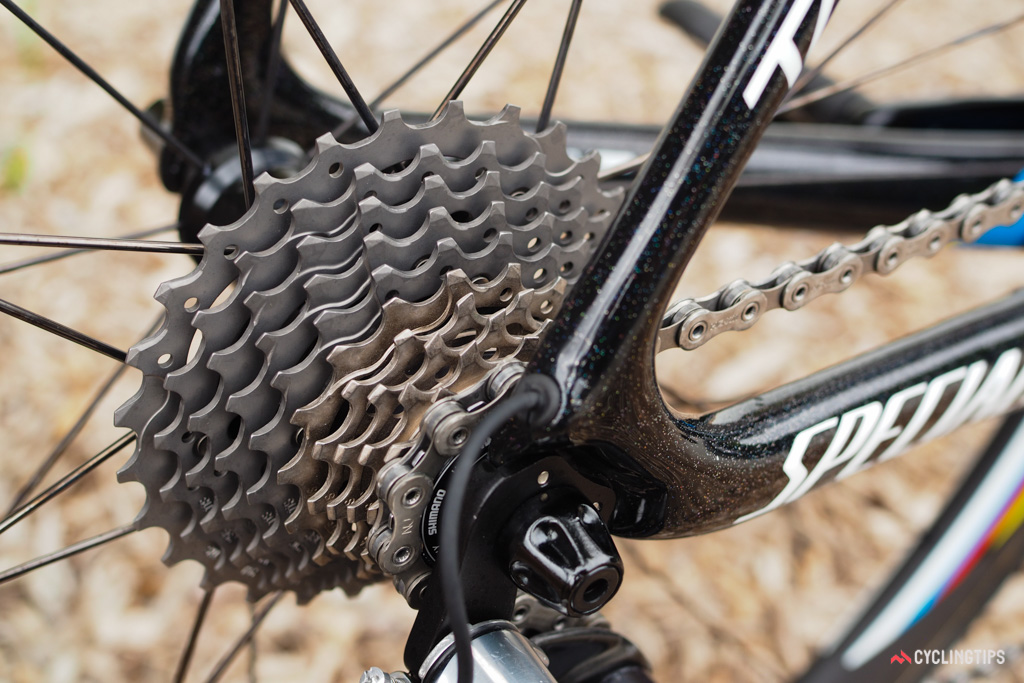 Five titanium sprockets on the Shimano Dura-Ace cassette helps keep the overall weight down.