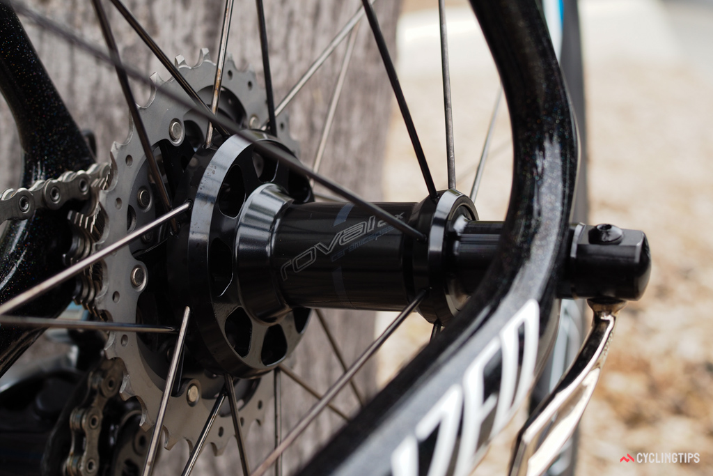 The Roval hubs are packed with DT Swiss star ratchet driver internals and CeramicSpeed bearings.