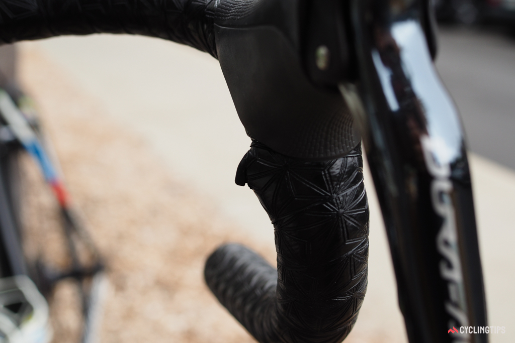 Shimano Di2 sprint shifters are mounted relatively high on the drops.