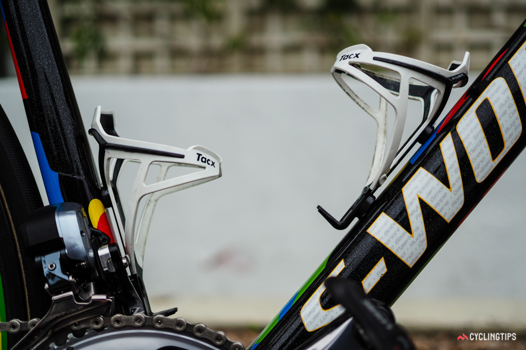 No rainbow colors for the Tacx bottle cages - yet.