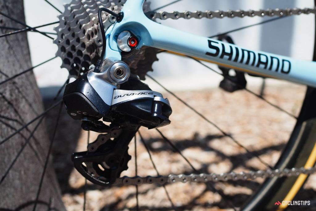 This Shimano Dura-Ace Di2 rear derailleur hadn't even been used yet when these pictures were taken.