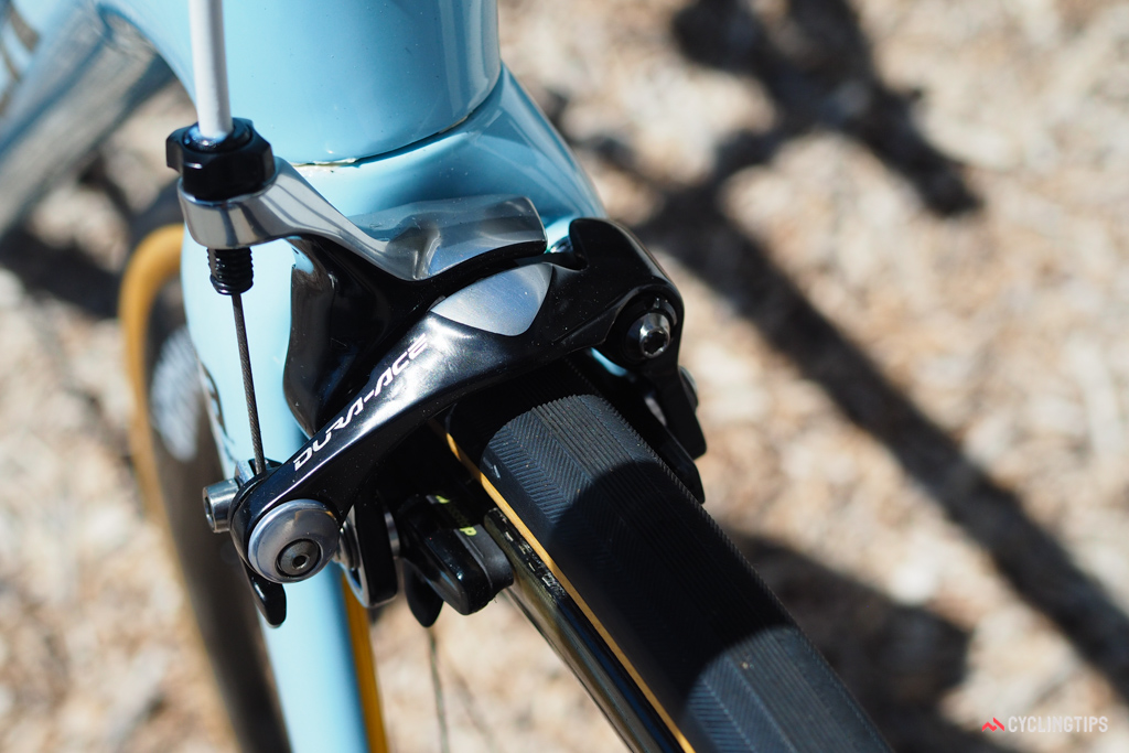 The Shimano Dura-Ace brakes are fitted with SwissStop pads.