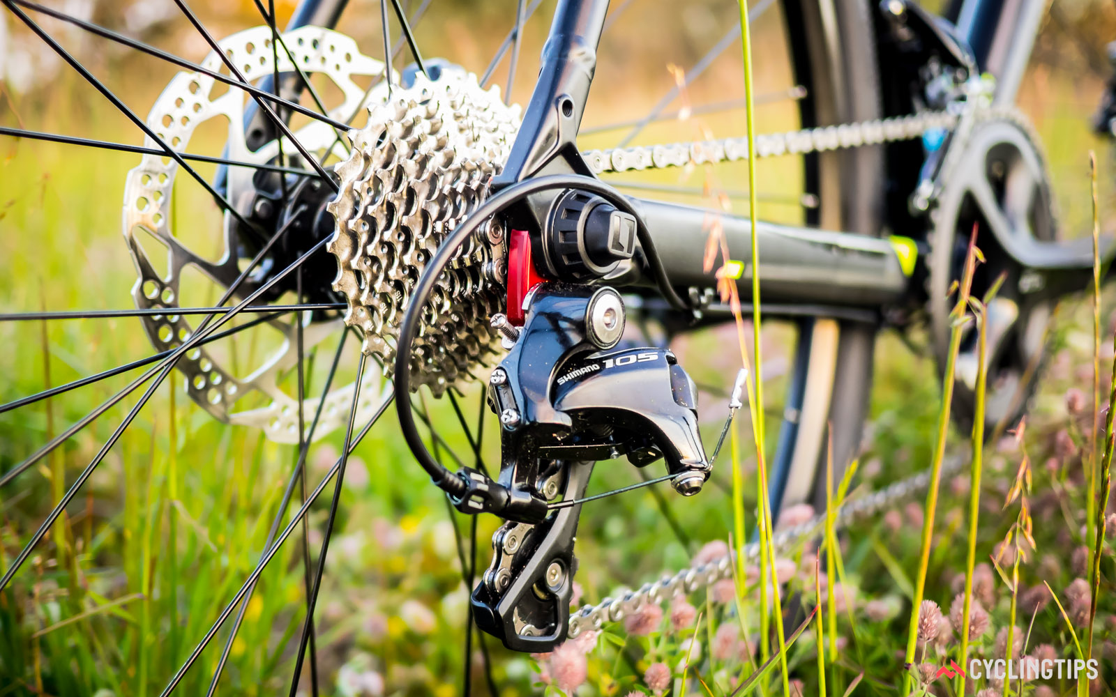 The Bend RV is supplied with a complete Shimano 105 11-speed groupset however the stock short-cage rear derailleur limits the lowest gear to 28T.