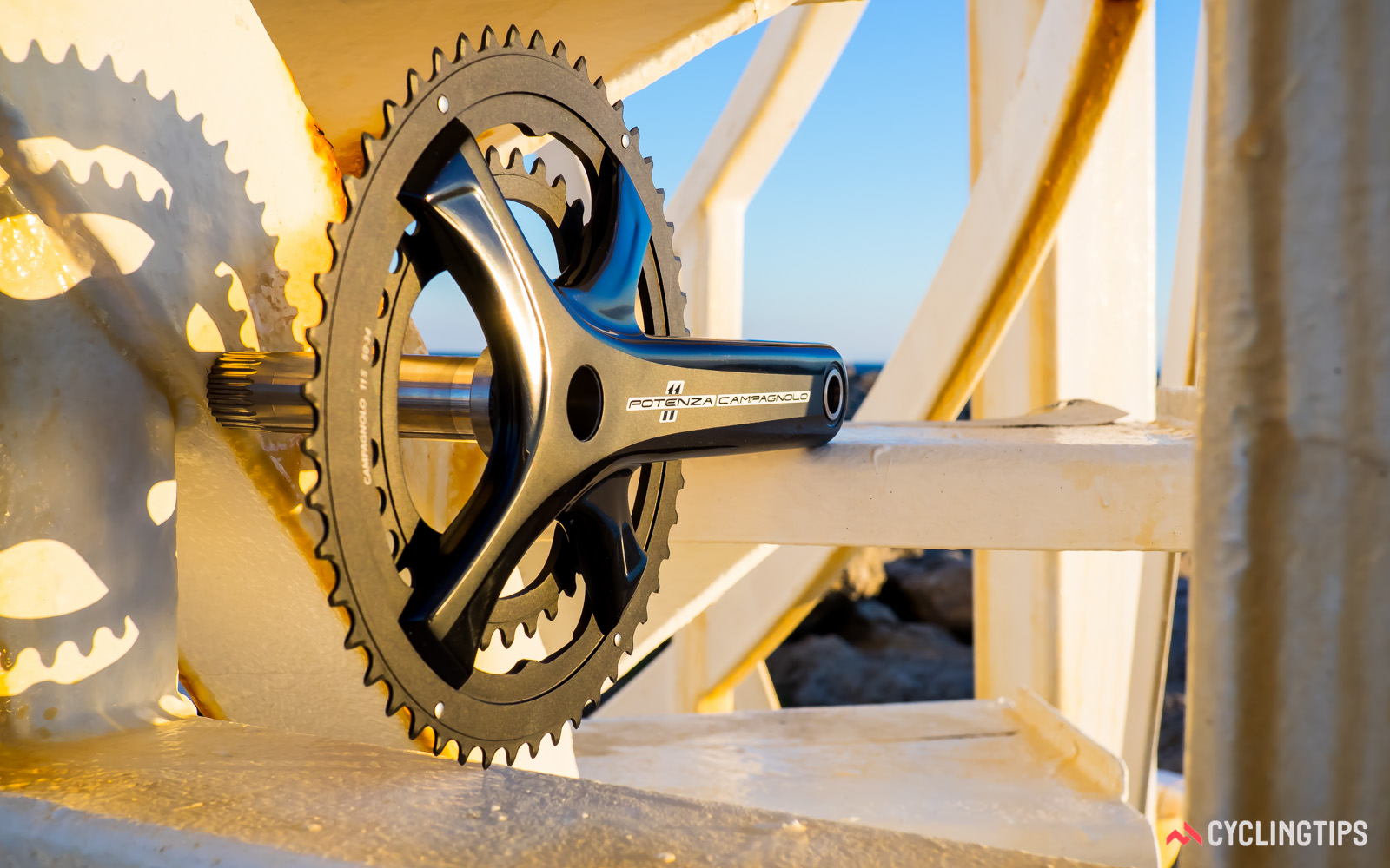 Campagnolo's four-arm crank design allow standard, semi-compact and compact chainrings to be used interchangeably.