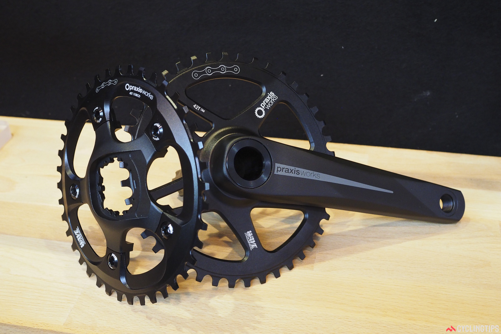 Whereas the original Praxis Zayante crankset used a permanently press-fit spider, the new one is removable, allowing for easy swapping to different drivetrain configurations. Photo: James Huang.