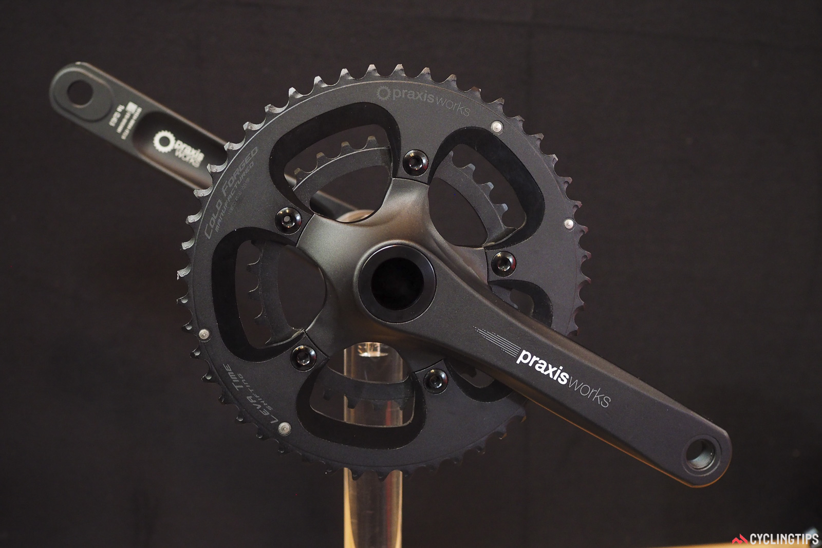 Praxis has subtly modified its Zayante hollow forged aluminum crankarms to accept its new micro-compact 48/32T chainrings. The lower gearing isn't aimed at traditional roadies (although some may certainly benefit), but rather gravel and adventure riders who might be hauling heavier loads or traveling on steeper terrain. Photo: James Huang.