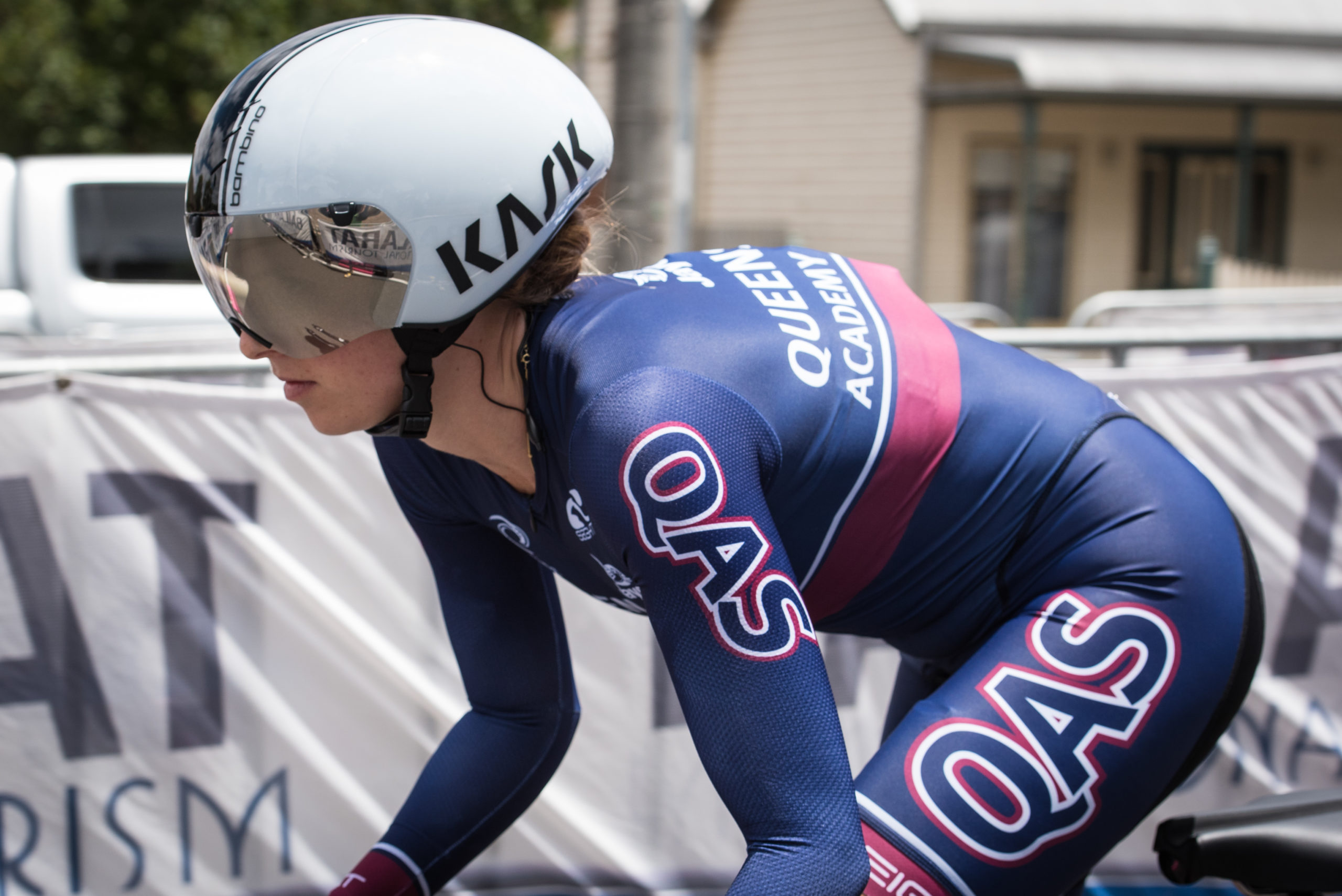 Skerritt rolling out at the Australian Road Nationals time trial, where she took tenth overall and second in the under 23 category