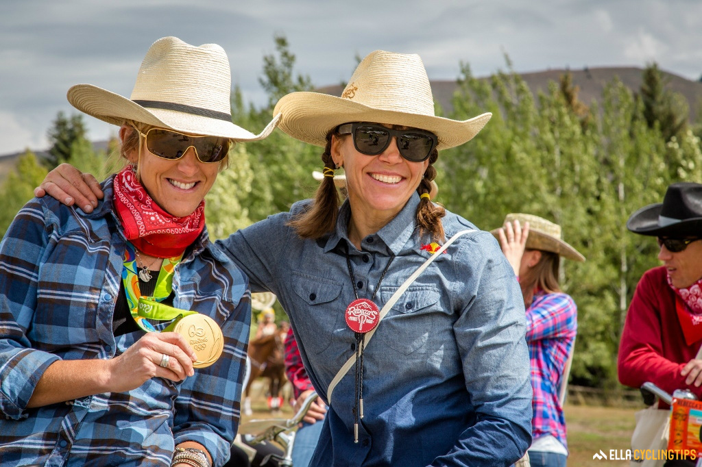 Idaho's golden girl, three-time Olympic champion Kristin Armstrong (left) and event organiser and multi-discipline world champion Rebecca Rusch.