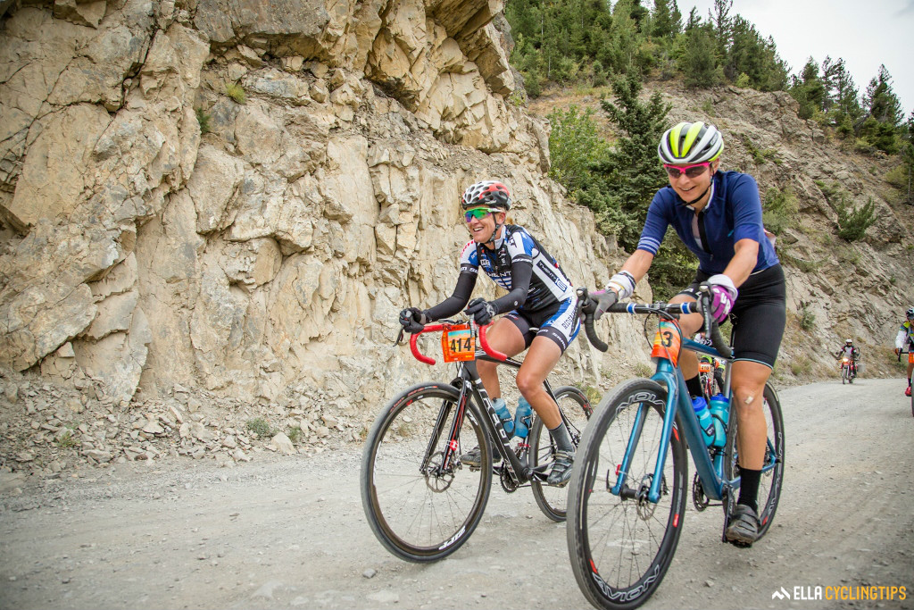 Three time Olympic gold medalist Kristin Armstrong and former national road champion Robin Farina pace eachother up the gravel climb.