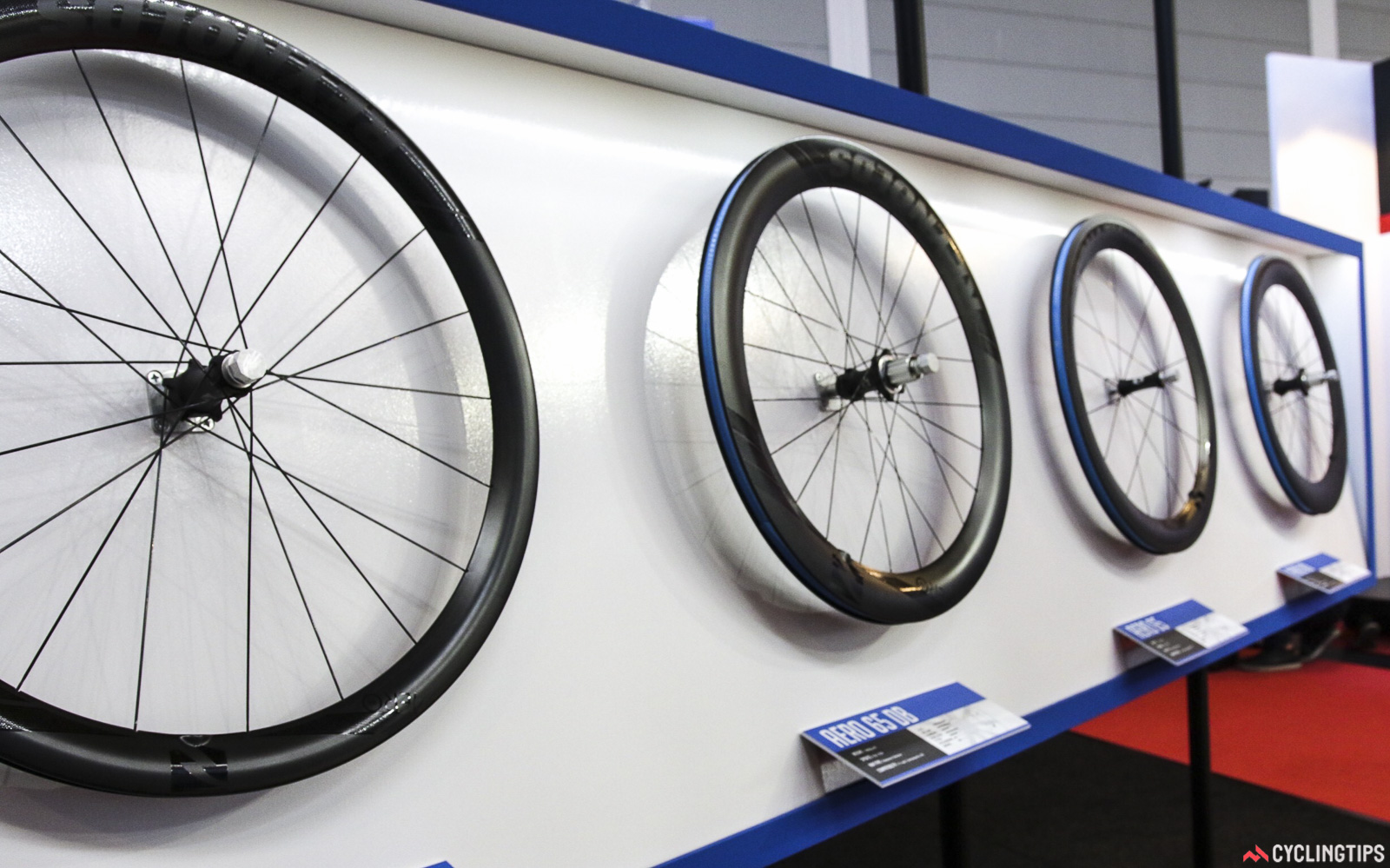 Reynolds has updated its aero profile for 2017, claiming the new 28mm width design saves 3-4W compared to the previous iterations (conditions tested unknown). All the rims are tubeless-ready and with a 19mm internal width. The wheels are rolling on US-Made Industry Nine hubs with a fast 6-degree freehub pickup. The 46mm depth is Disc only. The 65 is available in both rim and disc. While the deep 80 is rim brake only. Plenty of work has gone into that rim brake surface too. All options should be available by January. Photo: David Rome.