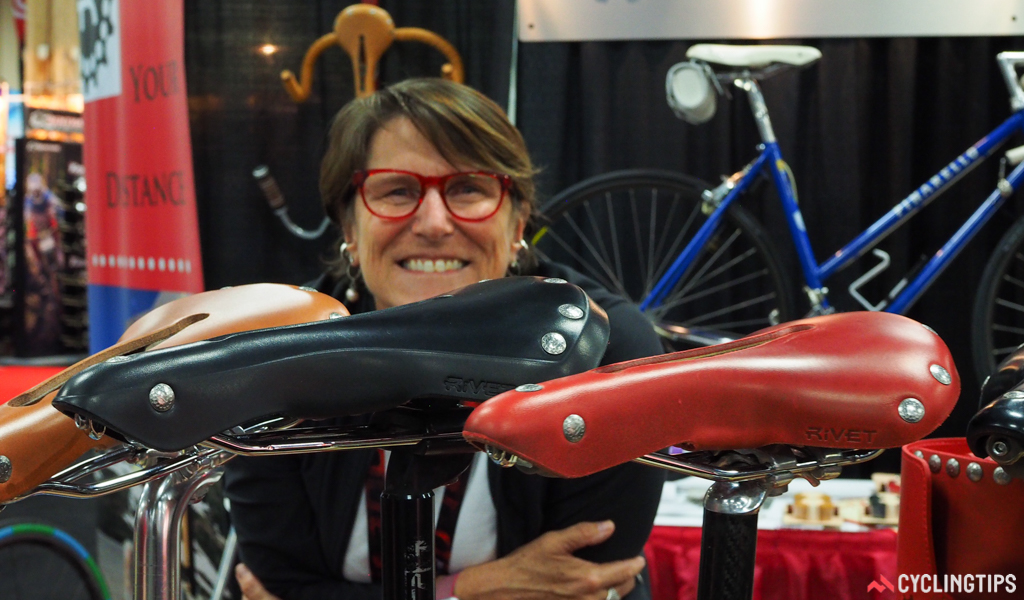 """Debra Banks is the """"Rivetress"""" – the mastermind behind Rivet's superb range of classically styled leather saddles, handlebar tapes, fender flaps, and bags."""