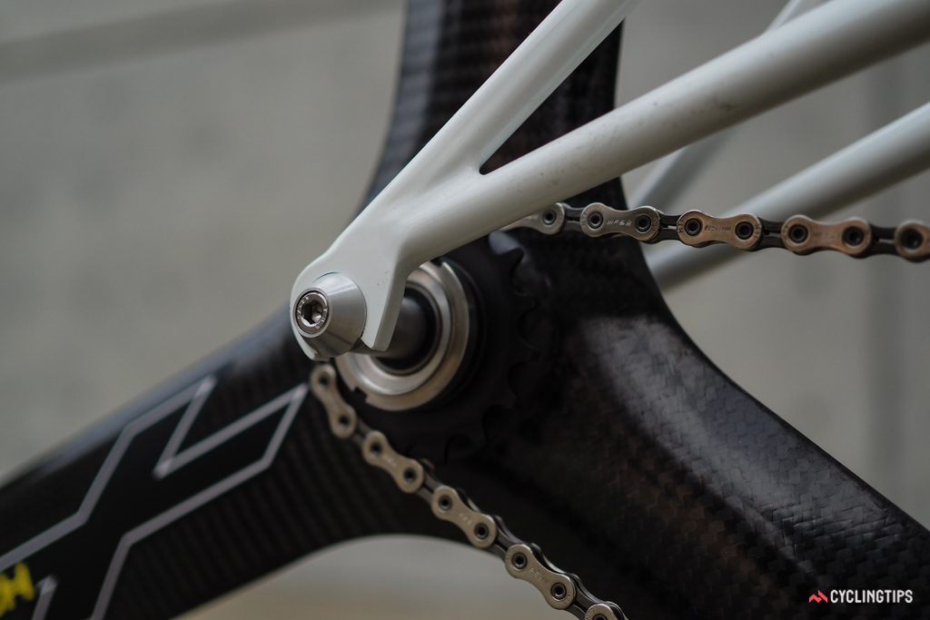 The eccentric bottom bracket allows for vertical rear dropouts and a more consistent fit between the rear wheel and seat tube.