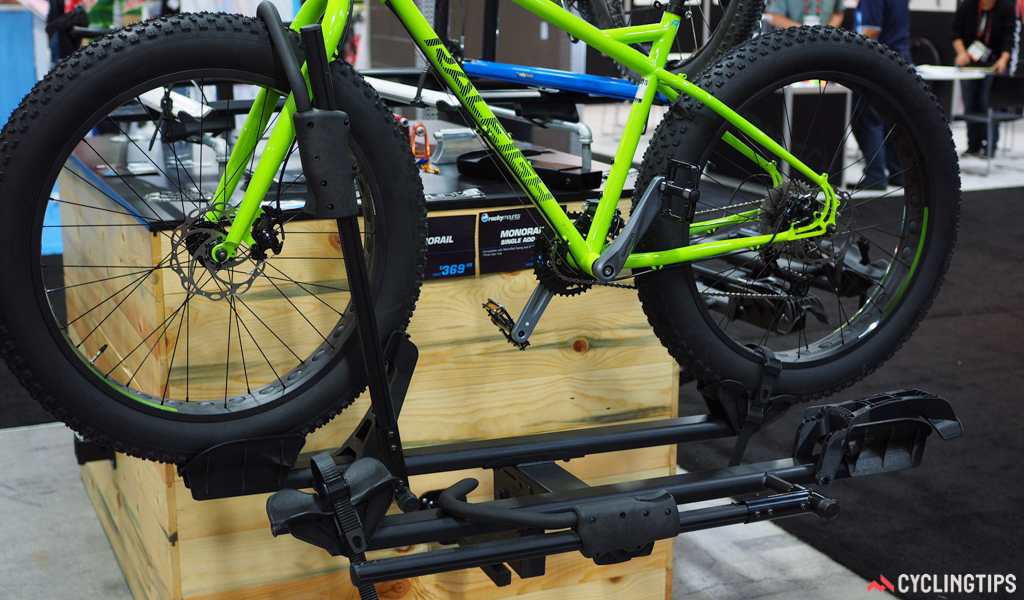 RockyMounts showed off the new SingleRail platform-style hitch rack, complete with fat bike-friendly folding cradles, easy one-handed arm operation, and an optional add-on kit for a third bike.