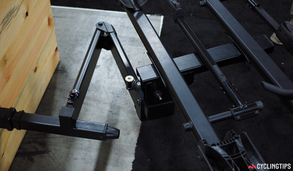 The RockyMounts Monorail Swing is perhaps the only platform-style rack on the market with a swing-away base design for easier access to the back of the vehicle. Retail price is US$529.