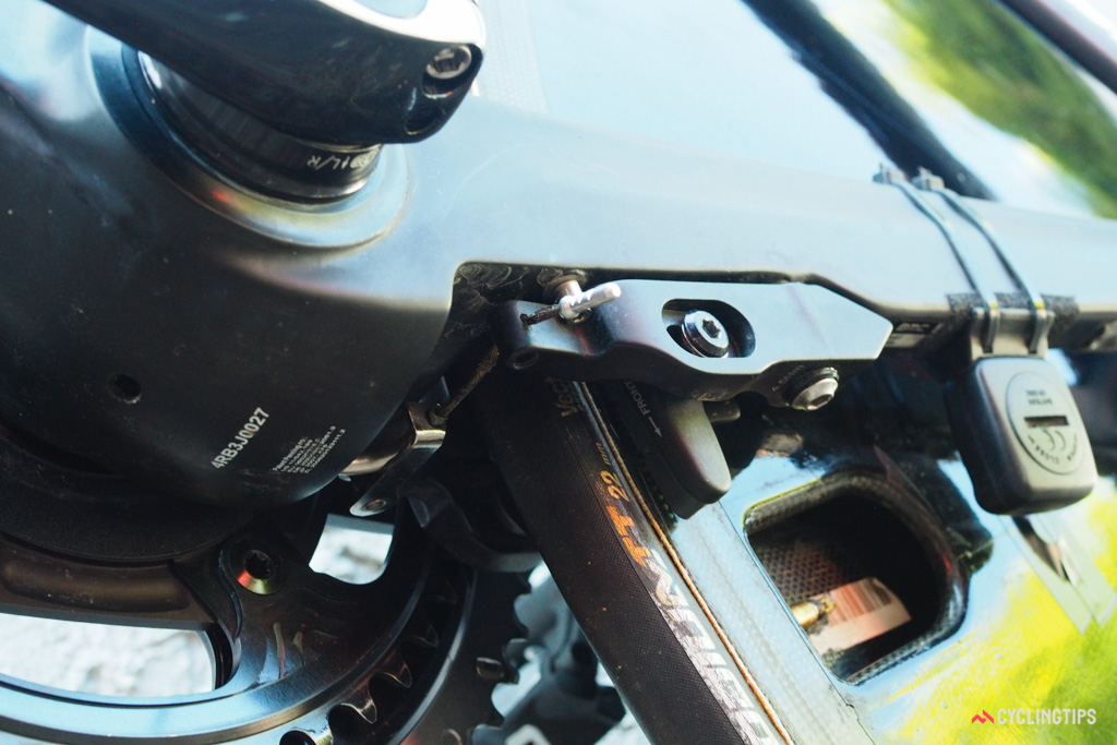 The linear-pull rear brake is nestled below the chainstays, just behind the bottom bracket.