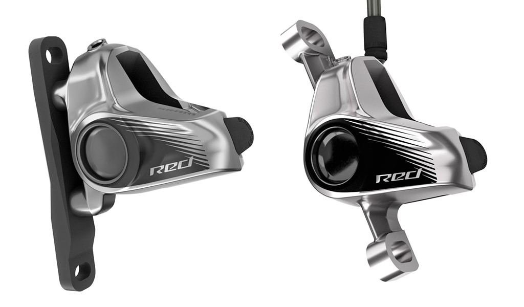 SRAM will offer new one-piece forged aluminum disc brake calipers for the Red eTap HydroHC groupset, in both flat mount (left) and post mount varieties.