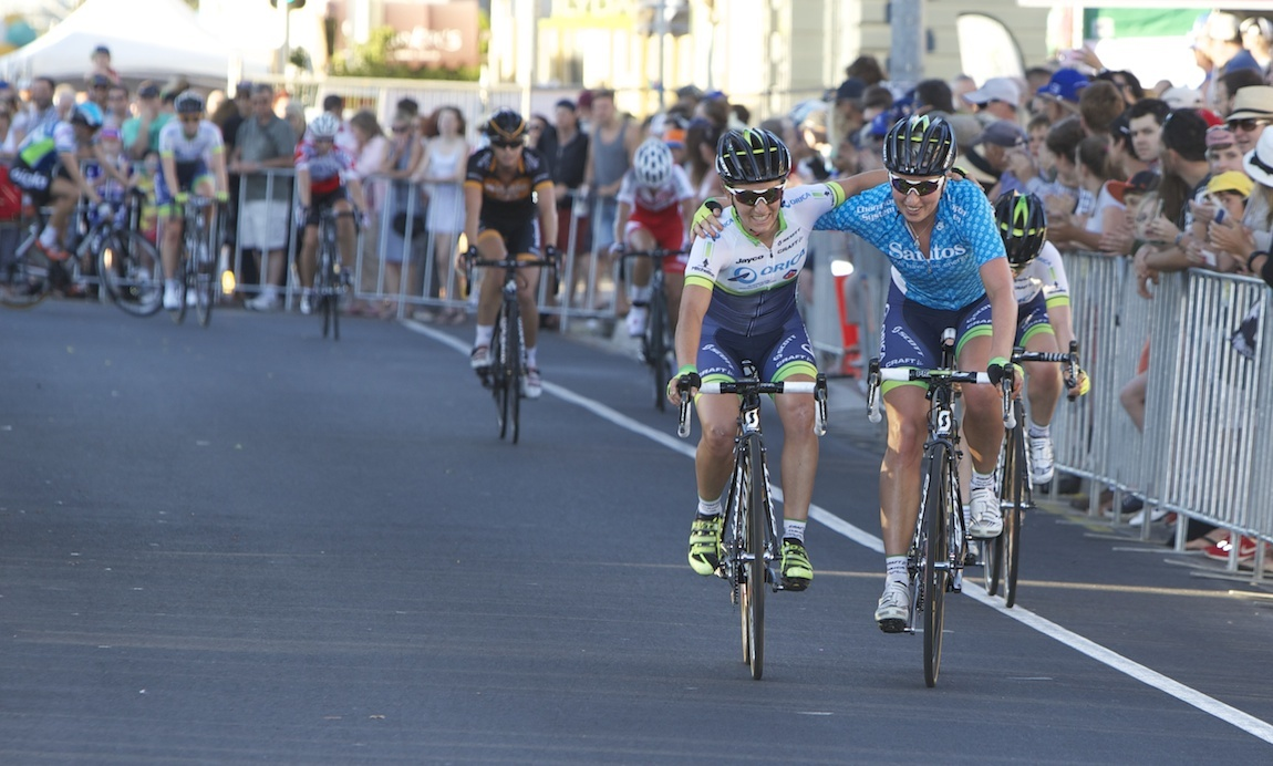 Loes Gunnewijk (right) and Valentina Scandolara (left)  celebrate first and second place overall.
