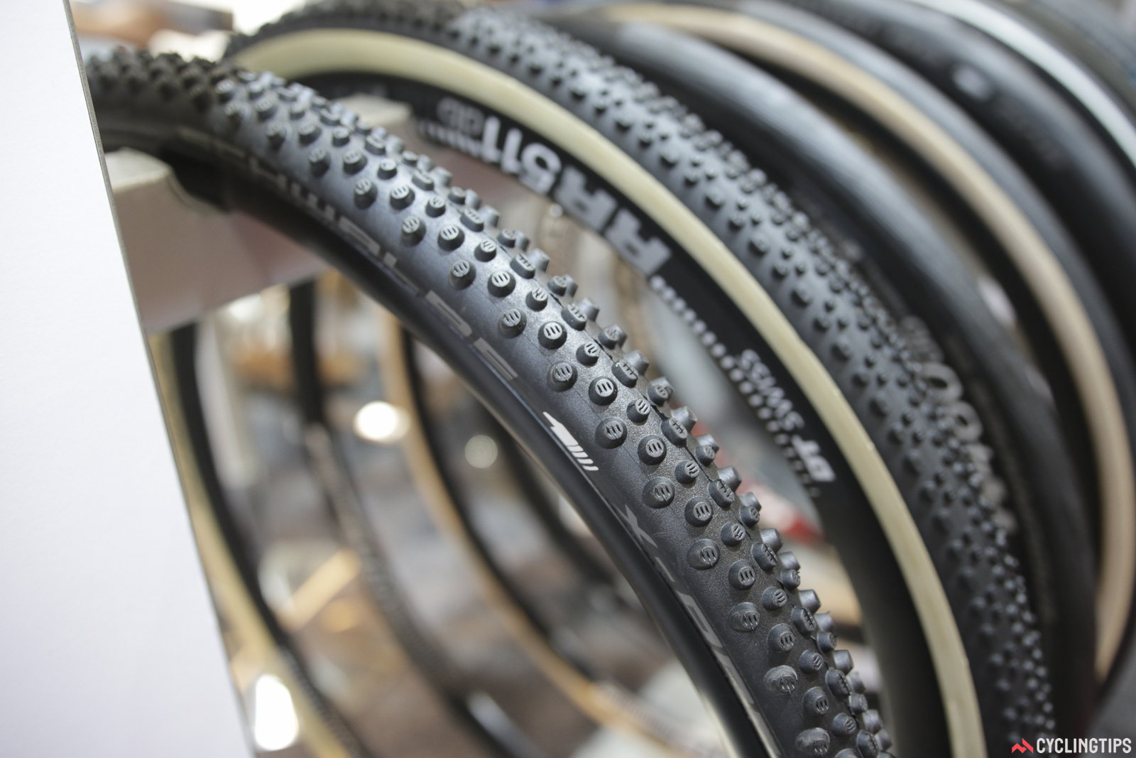 Schwalbe has this new 700x33c cyclocross tyre for deep mud. The X-One Bite is tubeless-ready and features a triple-compound knob pattern. Photo: David Rome.