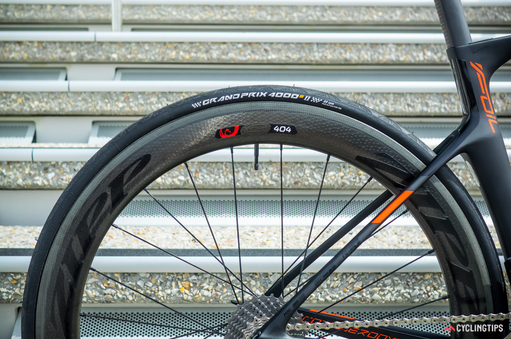 Zipp's Firecrest 404s help the speed of the bike but they require more effort to control in windy conditions.