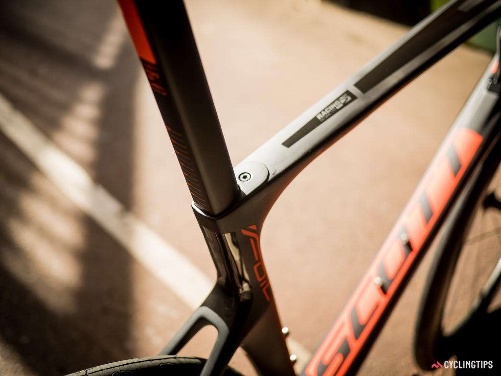 The integrated seatpost clamp is hidden under a small alloy panel that bolts into place.