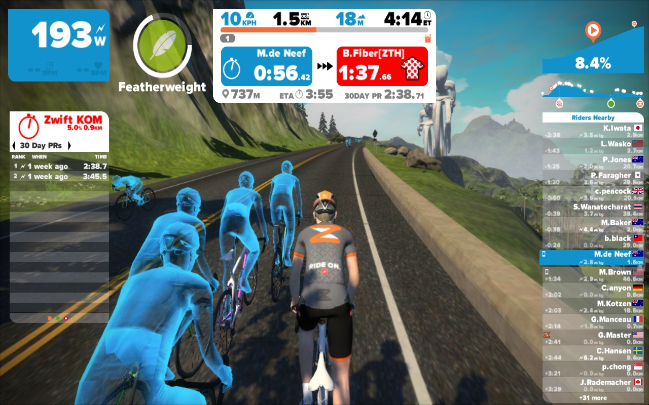 Riding the Watopia KOM with a handful of AI riders around me.