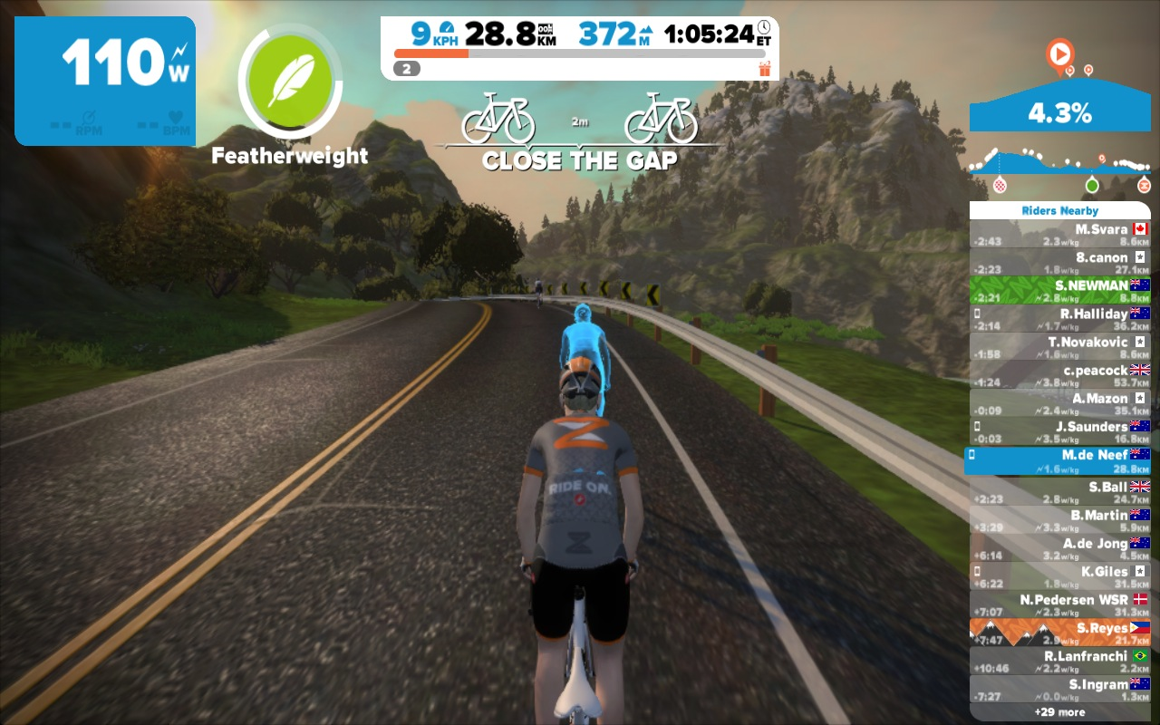 Here I am using the Featherweight power-up on a climb, which reduces my weight for 15 seconds.