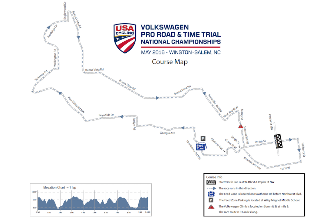 2016 US national road race map