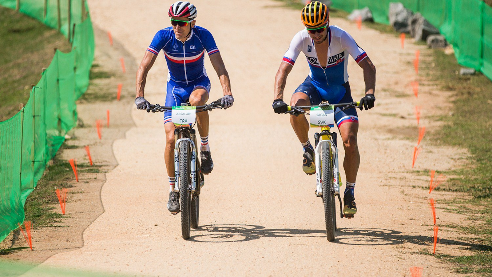 Two-time Olympic champion Julien Absalon (France) and Peter Sagan (Slovakia), the current world road champion and winner of the Points Jersey at the Tour de France, who decided to race mountain bike rather than road at the 2016 Olympics. Photo: UCI/Michal ?ervený.