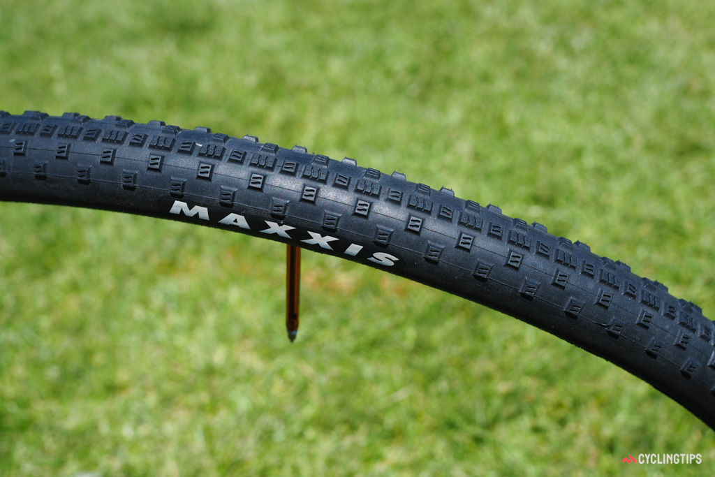 Maxxis showed off a prototype tubular version of the Raze cyclocross tread. The company is still pondering whether to bring it to market.