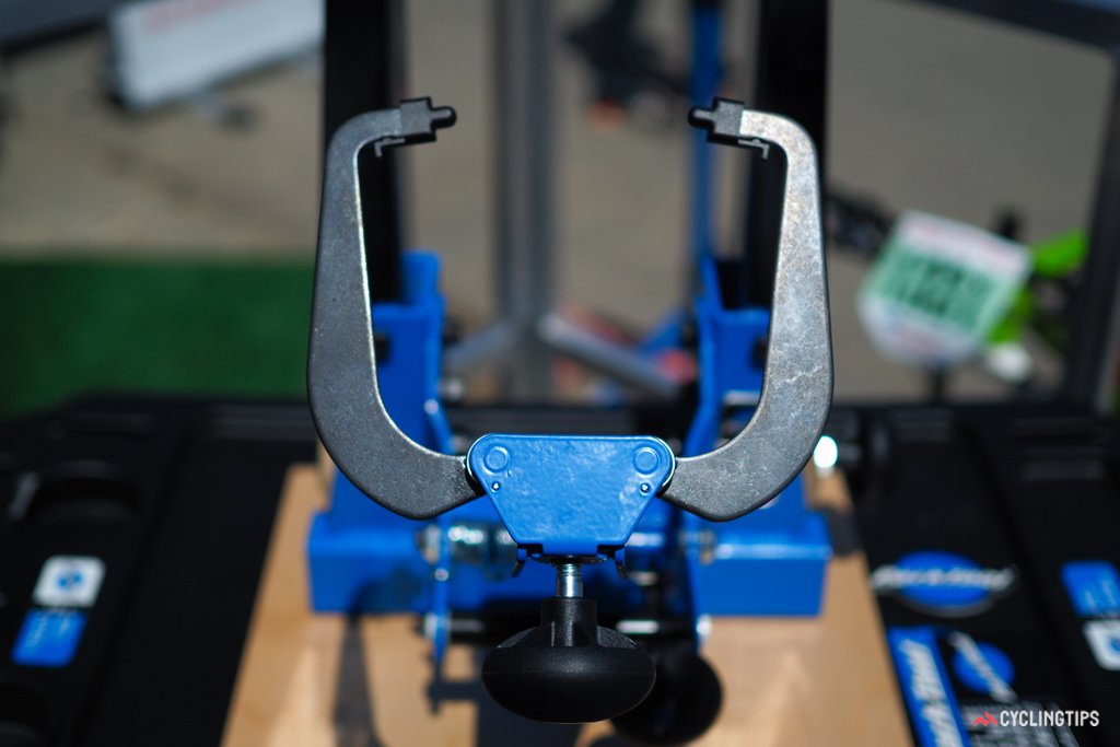 Park Tool built the TS-4 with fat bikes in mind. The stand will accept hubs up to 214mm-wide and even the widest fat bike rims.