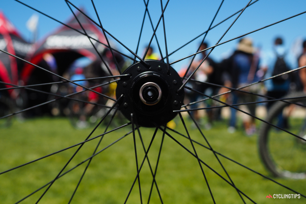 The rear wheel uses conventionally crossed lacing but the front is actually radially laced on the driveside - a setup Praxis contends can still hold up to brake torque but actually yields better side-to-side stiffness.