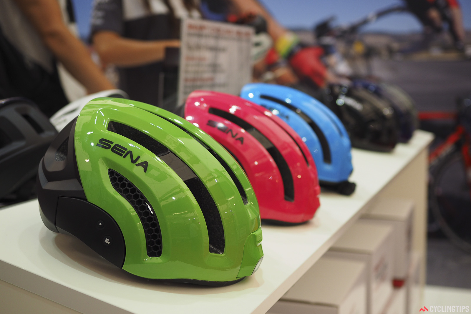 Helmets have recently become the latest battleground for technology. Sena previewed a new helmet that includes a forward facing video camera, a Bluetooth two-way intercom system, and built-in stereo speakers. Photo: James Huang.