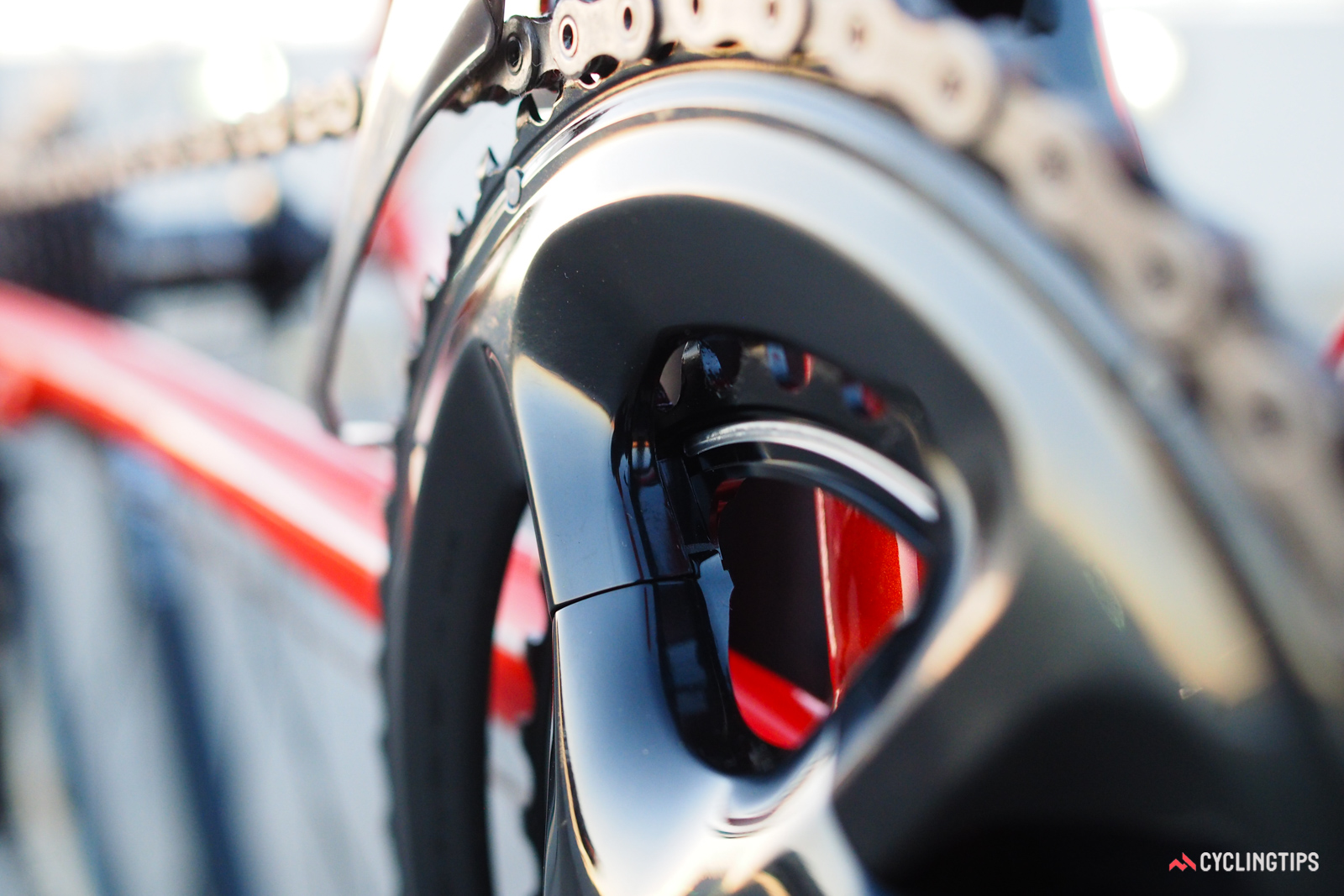 One of the biggest keys to Shimano's best-in-class front shifting performance is the deep-section, hollow outer chainring design, which is noticeably stiffer than competing rings that are still machined or forged from flat plate.