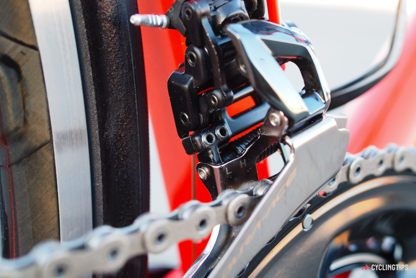 Limit screws are clearly marked and admirably tiny. Hidden from view is the support bolt that braces the derailleur body against the seat tube for additional support and better shifting performance under load.