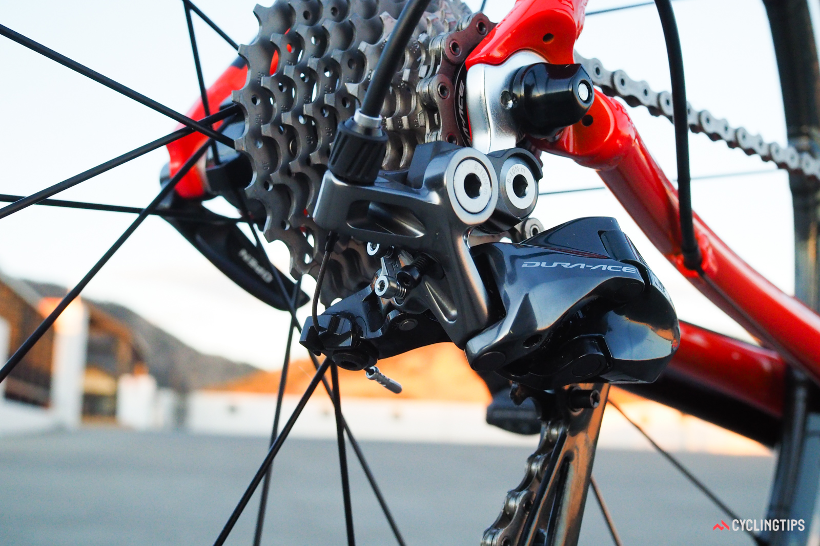 The cable path is far more direct on this latest Shimano Dura-Ace 9100 rear derailleur than the previous edition, which bodes well for cable durability. Limit screws have switched from Phillips heads to Allen heads, too.