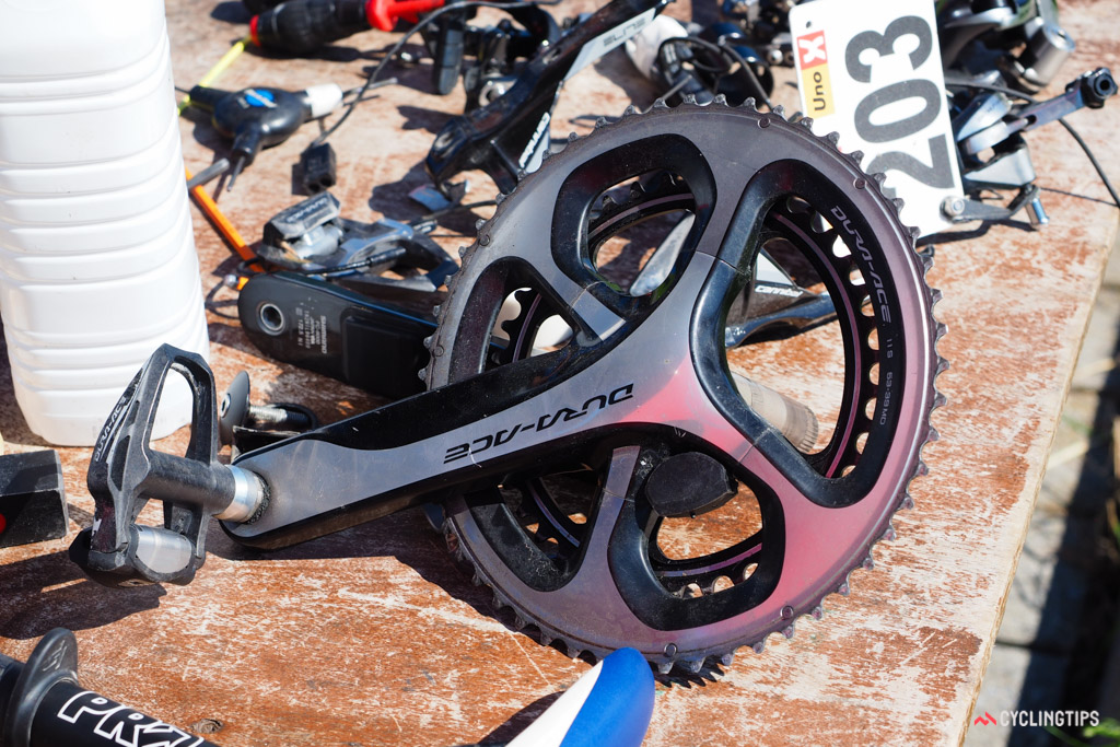 It's no secret that Shimano is working on a crank-based power meter but it's nonetheless rare to see a development mule in the wild.