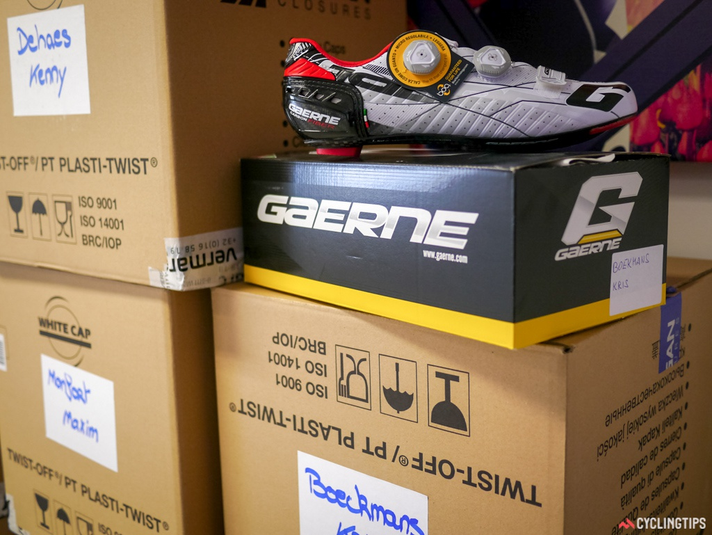 Spare shoes are even stored on sight. Gaerne is the team's footwear sponsor again in 2015.
