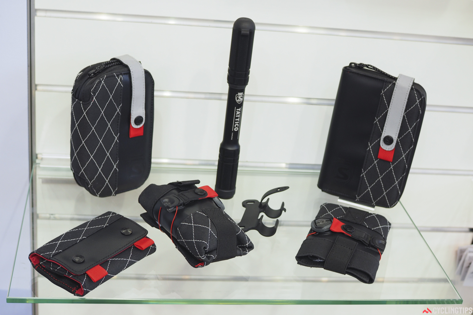 Silca continues to expand, now with a more complete range of bags that includes a waterproof phone wallet (using a rolltop dry bag insert), a tire repair case, a Boa-equipped seat pack, and a case for its new T-Ratchet compact torque wrench. Photo: James Huang.