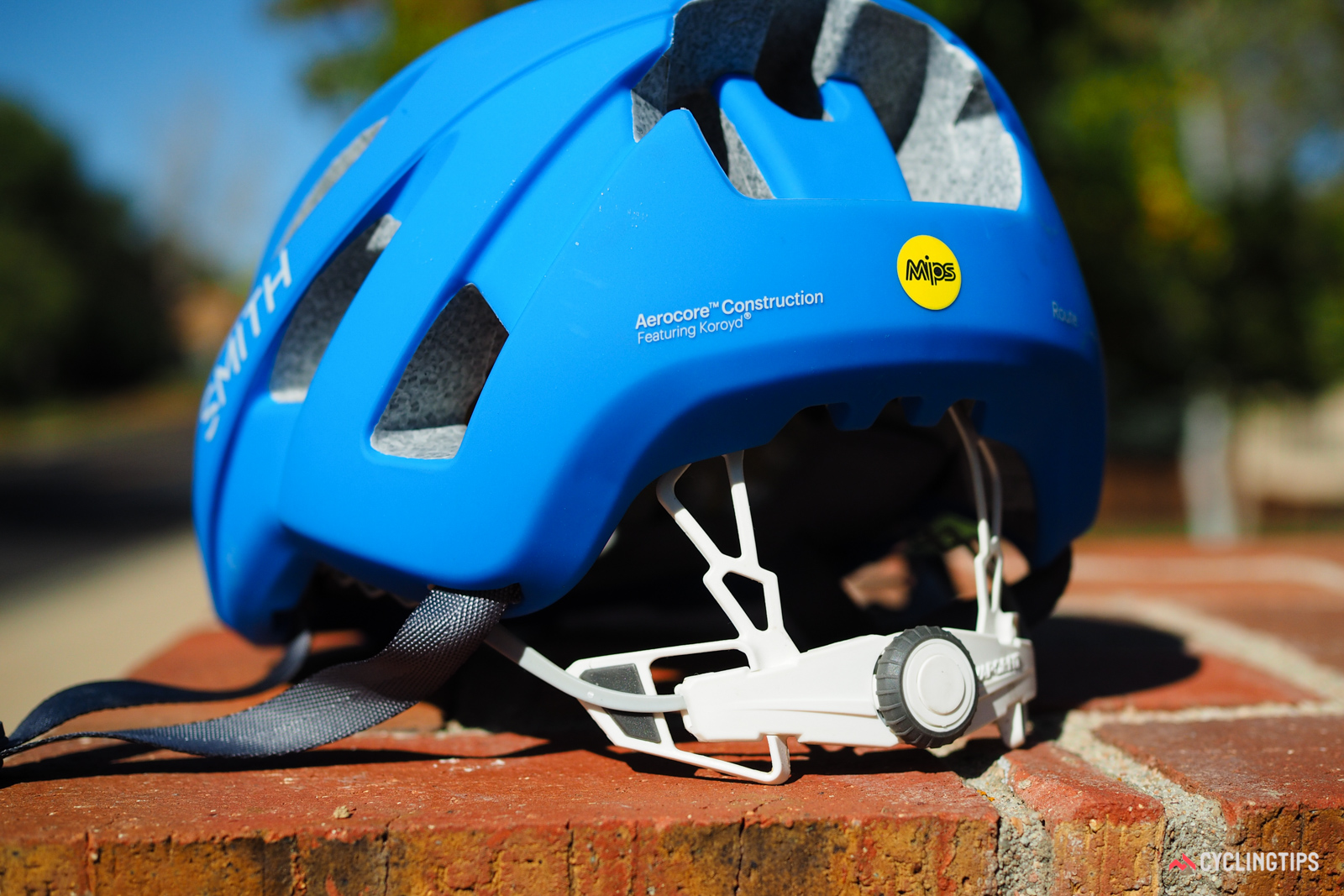 The flexible VaporFit retention system on the Smith Optics Route helmet is quite comfortable, adjustable for height, and definitely very easy to use.